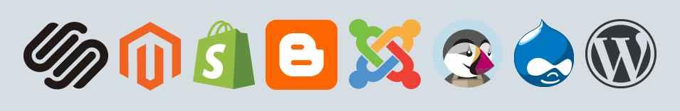 Diferentes logotipos de varios sistemas de gestión de contenidos