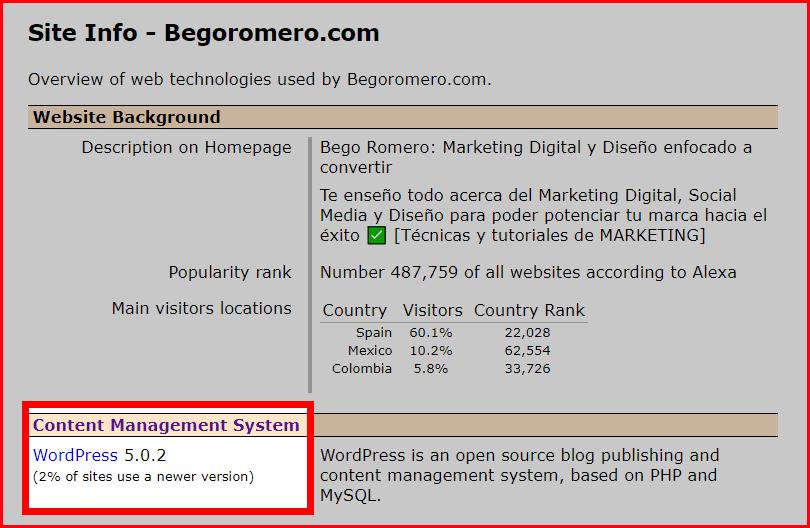 Análisis de la tecnologías web que utiliza begoromero.com