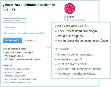 Autorización de acceso a Dribbble