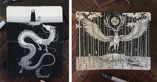 Dibujos a tinta de Kerby Rosane