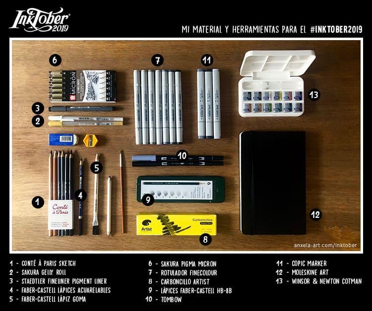 Mis herramientas para el Inktober